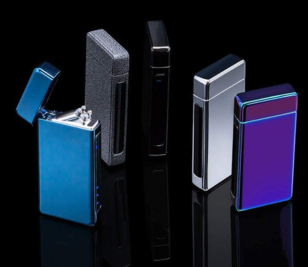 Electric Dual Arc Plasma Sensor Lighter Square Shape with LED Indicator Rechargeable for Fire/Cigar/Cigarette/Camping