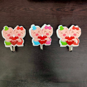 Self Adhesive Piggy Love beautiful Wall Hooks, (3 PCS) - halfrate.in