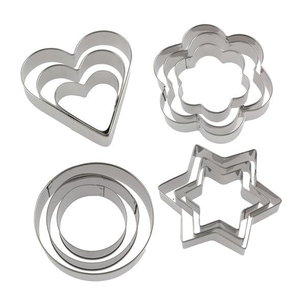 Cookie Cutter Stainless Steel Cookie Cutter With 4Shape, 12 Pieces - halfrate.in