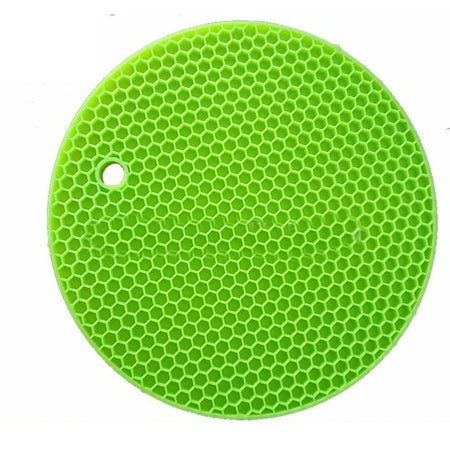Flexible Honeycomb Silicone Round Pot Holder Non-slip Durable Heat Resistant Placemat Table Mat - halfrate.in