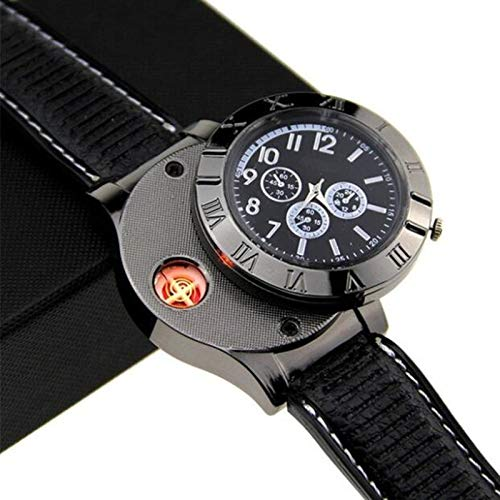 Men USB Rechargeable Cigarette Cigar Lighter Watch Novelty Cool Lighters Windproof Flameless Unique Designer Wristwatches