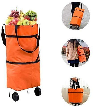 Foldable Shopping Trolley Carry Bag for Vegetables and Grocery Fabric, Metal Lightweight Folding Shopping Trolley/Travel Luggage Bag with Wheels (Multicolor) - halfrate.in