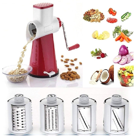 4 in 1 Drum Grater Shredder Slicer For Vegetable, Fruits, Chocolate, Dry Fruits Salad Maker - halfrate.in