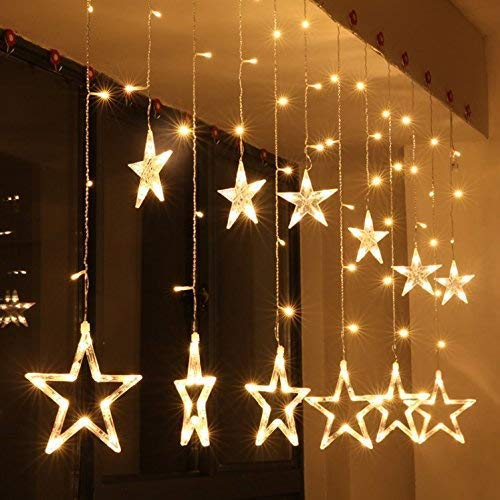 Star Curtain Light 6 Big Star 6 Small Star 138 LED lights with 8 Flashing Modes for Decoration (12 Star, Golden Yellow) for Diwali, Christmas, Birthday & more