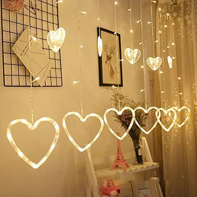 Heart Shape Curtain Light 6 Big Heart 6 Small Heart 138 LED lights with 8 Flashing Modes for Decoration (12 Star, Golden Yellow) for Diwali, Christmas, Birthday, Valentines day