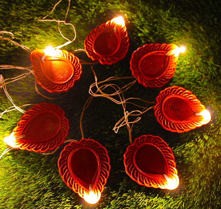 Diwali Diya String Lights Diwali Lights for Decoration 16 Diya's Diwali Candle String Light Decorative Lights for Diwali (Brown)