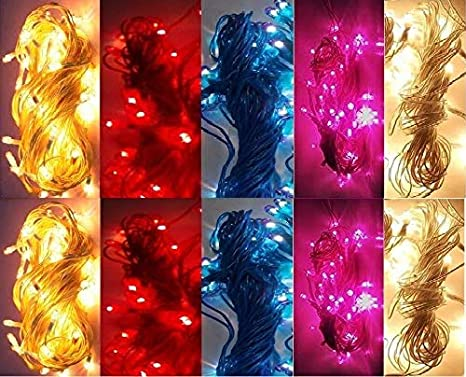 Plastic Rice Lights 5 mtr Serial Bulbs Ladi Decoration Lighting Multicolour for Indoor, Outdoor, DIY, Diwali Christmas Eid and Other Festive Season