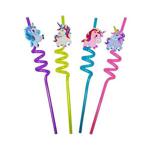 Kids Funny Cartoon Spiral Drinking Straw for kids in Various Attractive Designs and Shape, Set of 4 pcs. Assorted - halfrate.in