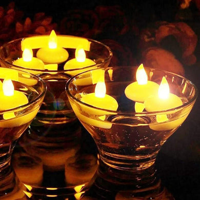 Water Sensor Battery Operated Waterproof LED Floating Flameless & Smokeless Tealight Candles Diwali, Christmas (10pcs, White)