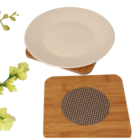 Square Shape Heating Insulation Wooden Coaster Heat Table Ware Pad Place mat for Hot Utensils - set of 2 - halfrate.in