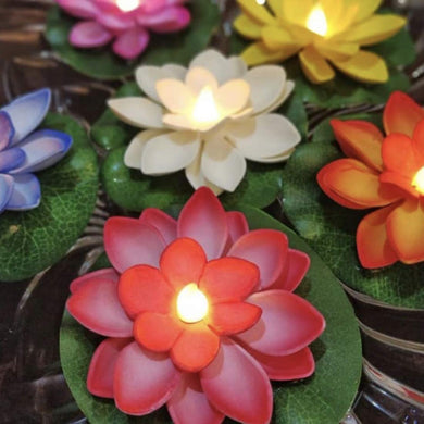 Color Lotus LED Candle Floating Candle Flameless Candle Light Beautiful Festival Lamp and Decoration for Home, Garden - Pack of 2