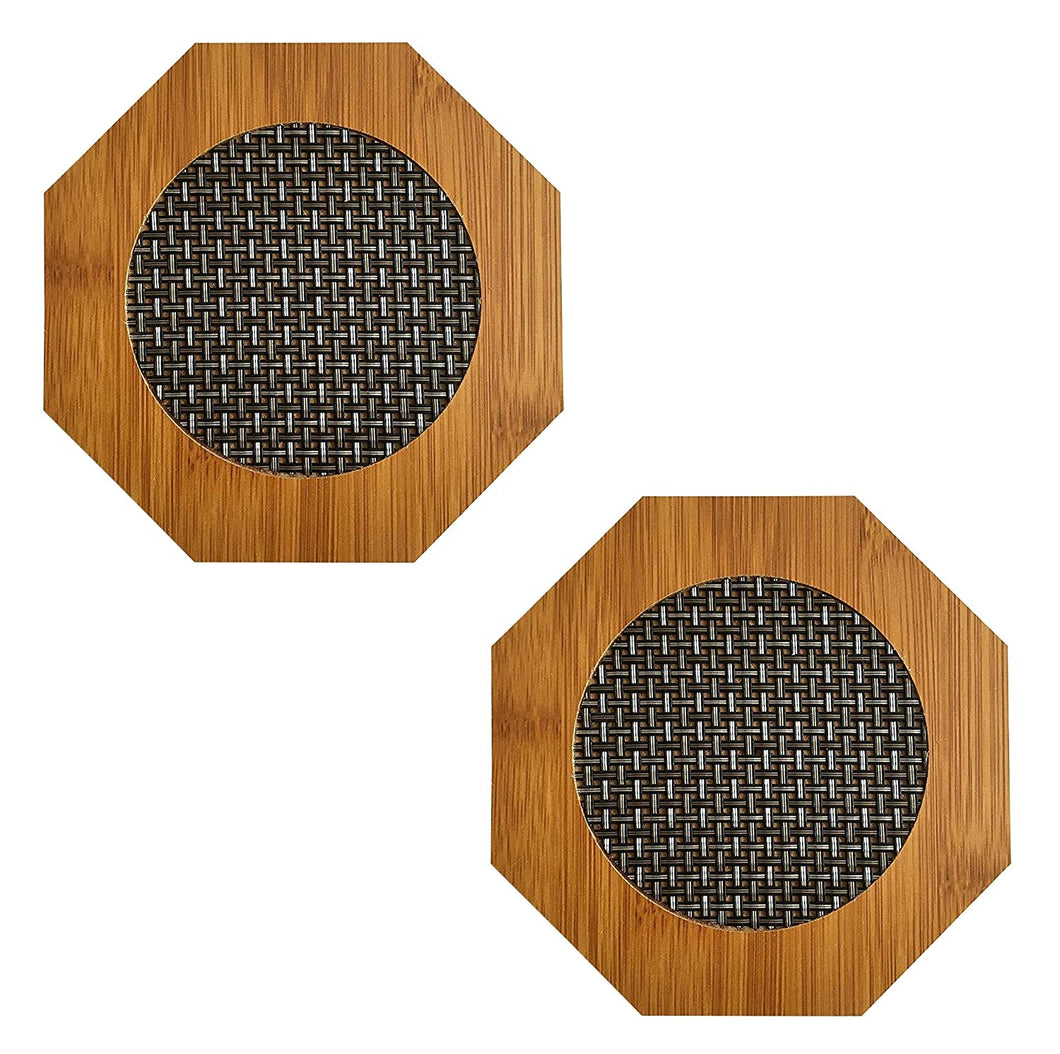 Hexagon Shape Heating Insulation Wooden Coaster Heat Table Ware Pad Place mat for Hot utencils, set of 2 - halfrate.in