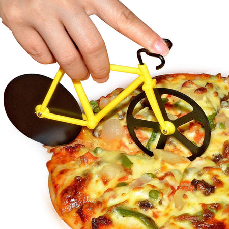 Dual Stainless Steel Non-Stick Cutting Wheels Display Stand A Very Cool Bicycle Pizza Cutter - halfrate.in