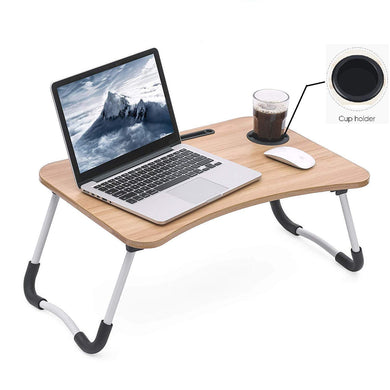 Multipurpose Foldable Laptop Table with Cup Holder, Study Table, Bed Table, Breakfast Table, Foldable & Portable / Ergonomic & Rounded Edges