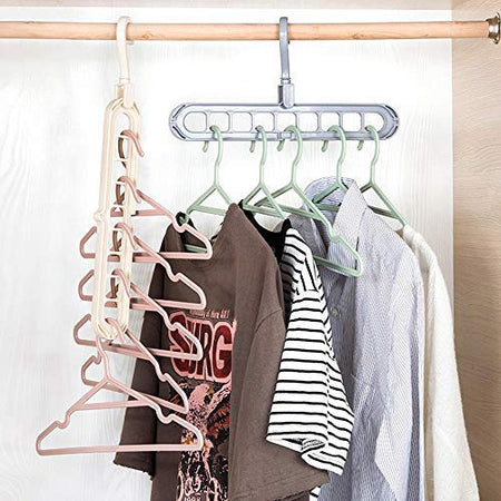 Space Saver Folding Hangers for ClothesWardrobe Anti-Skid Plastic Magic Clothes Hanger - 360º Swivel Hook - 9-Holes Design Closet Organiser Hanger set of 3
