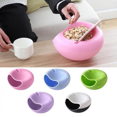 Snacks Bowl with mobile holder Bowl Double Layer Candy Plate Peels Shells Storage Mobile Phone Holder Stand - halfrate.in