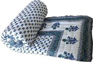 Jaipuri Razai ( Quilt) natural Cotton Stuffed White base - Single Bed size - halfrate.in