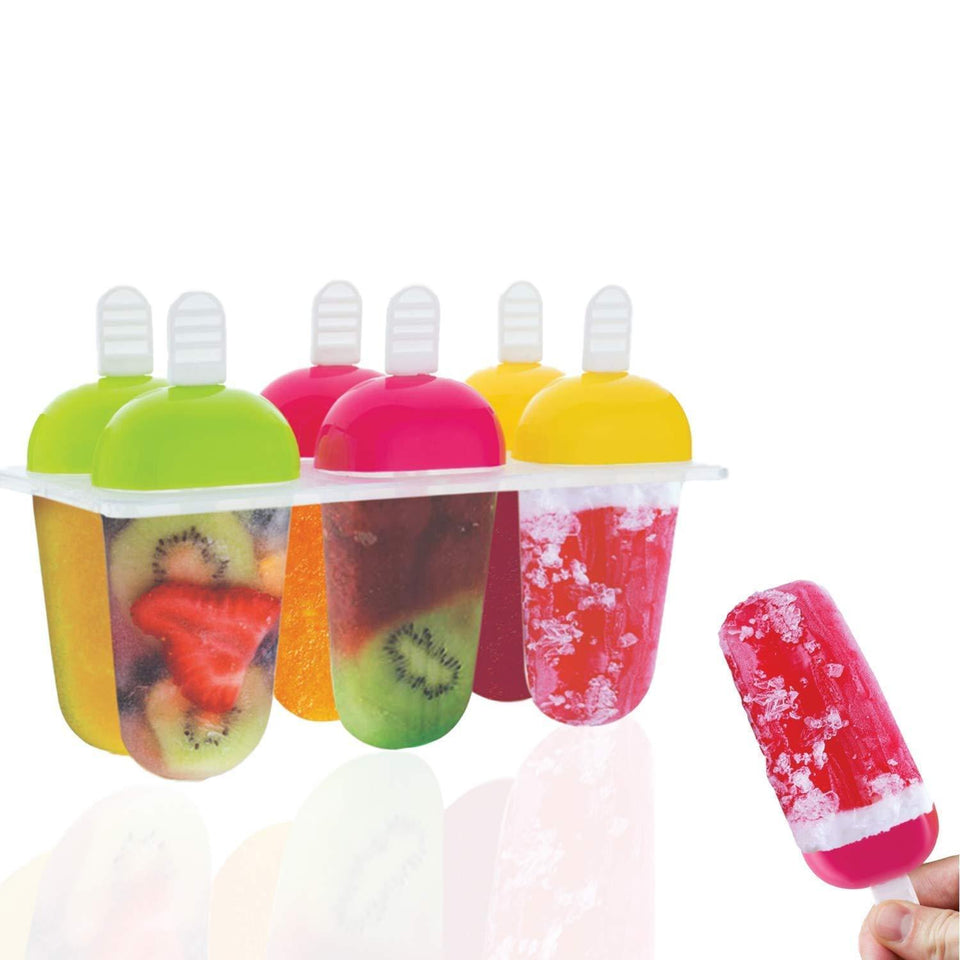 Plastic Reusable Popsicle Molds Ice Pop Makers Ice Pop Molds Kulfi Maker Mould, Candy Maker Plastic Popsicle Mold, Kids Ice Cream Tray Holder (Set of 6) - halfrate.in