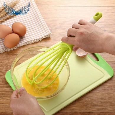 Plastic Flat Magic Master Balloon 2-in-1 Rotating Silicone Whisk, Egg & Cream Beater Hand Mixer Blender - halfrate.in