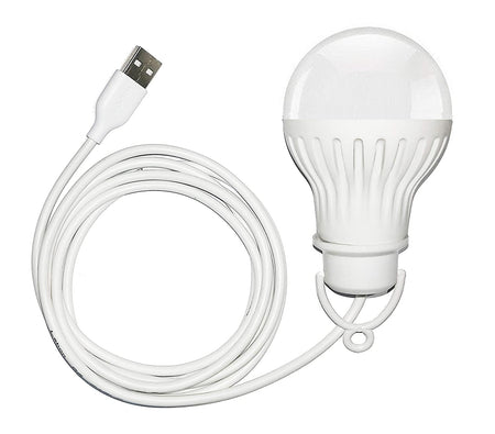 5W Portable Bright USB LED Bulb Light with Hook for Reading Camping Writing Works with Power Bank, Mobile phone, laptop, PC Adapter