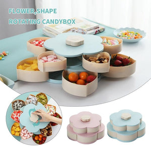 Double Layer 10 Grid Candy Snack Storage Flower Shape Rotating Box with Mobile Stand - halfrate.in