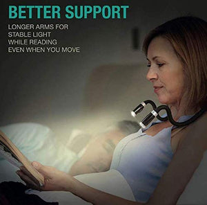 Ekdant® Flexible Hands free LED Neck Hug LightLED Battery Book Eye Flashlight  Handsfree Home Indoor Knitting Lamp Lights Modes Night Outdoor Portable Reading Soft