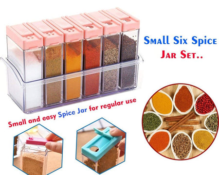 Plastic Spice JAR 6 in 1 Spice Rack Masala Box Set, 6-Pieces, Premium Multipurpose Plastic Spice Rack/Condiment Set - halfrate.in
