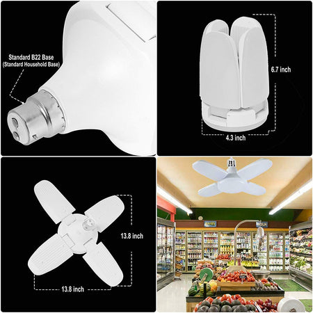 LED Light Bulb Fan Shape B22 Foldable Light, Super Bright Angle Adjustable Home Ceiling Lights, AC95-265V, Cool White Light (4+1fan) (28 watt)