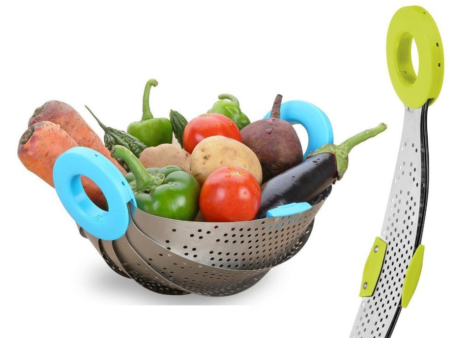 Stainless Steel with ABS Plastic 5-in-1 Collapsible Colander Strainer, Fruit Basket, Vegetable, Rice, Pulses Washing Bowl - halfrate.in