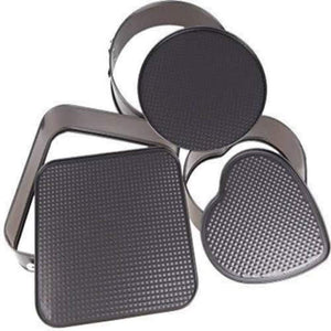 Teflon Coated 3 Pans in Heart, Round, and Square Shaped Cake Moulds  Non-Stick Tins/Pans/Trays with Removable Bottom - halfrate.in