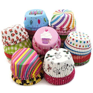 Baking Muffins High Quality Descent and Beautiful Design Round Cup Cake Paper Liner Greaseproof Microvave Or Oven Trey Safe (Multicolor) - halfrate.in