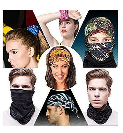 Unisex Headwear Headband Head Wrap UV Resistance Sports Bandana Magic Scarf Face Mask (Assorted Color and Design) (Pack of 6)