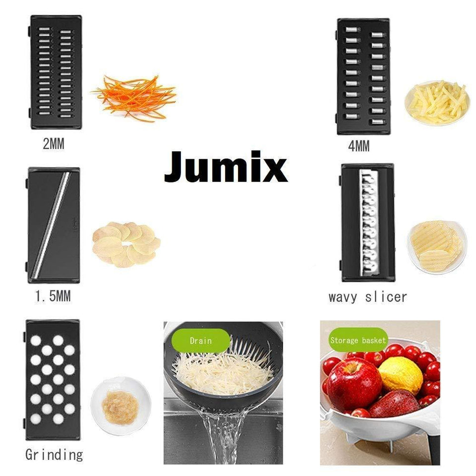 9 in 1 Julienne Slicer with Drain Basket Multi Fuction Food Strainer Fruit Colander Vegetable Slicer Grater Food Cutter Shredder - halfrate.in