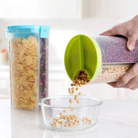 Food Container 3 in 1 Transparent Plastic Lock Food Storage Airtight Container Jar for Cereals, Snacks, Pulses, Grocery 3 Section 1500 ml set of 2 - halfrate.in