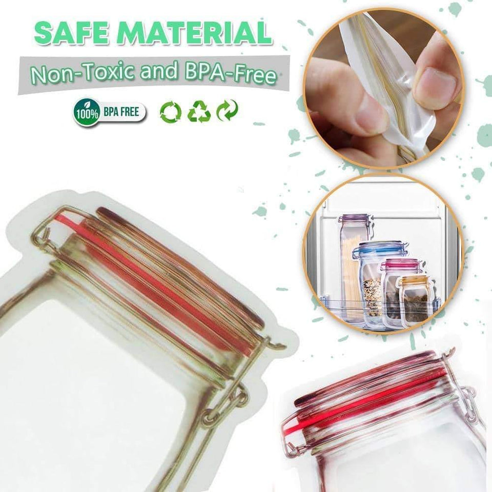 Jar Zipper Bags 1000 ml Storage for Food, Grains, Flours, Beans, Dry Fruits || Reusable Ziplock Bottles Shaped Pouches Leak Proof Easy for Travel - Pack of 5 - halfrate.in