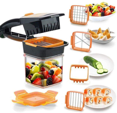5 in 1 Cutter Chopper Dicer Veggie Multi Function Stainless Steel Vegetable Slice Chopper Slicer Non-Skid Base Slicer and Chopper - halfrate.in