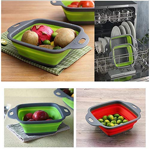 Silicone Square Folding Drain 1 Pcs, Food Strainer, Collapsible Colander Vegetable Fruits Washing Strainer Kitchen Basket