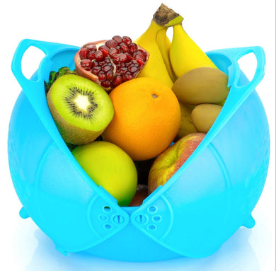Multi Functional Rice | Vegetable and Fruit Wash Basket Bowl | Drainer Food Strainer with double lid