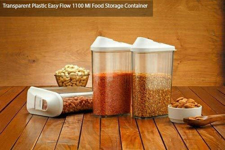 Plastic Transparent Cans, Jars Storage Bottles, Storage Box (1100 ml, 1pc)