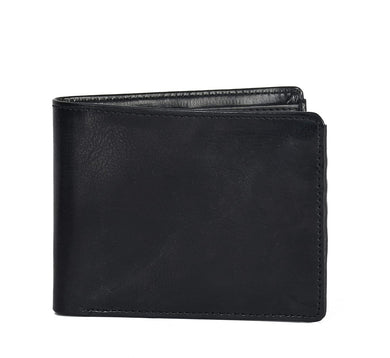 Plain Black Bi Fold Faux Leather Wallet For Men