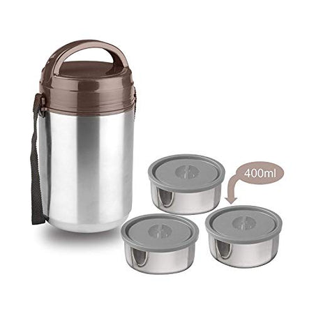 Asian Trendy Stainless Steel Strong Lunch Box,Tiffin Box,Set of 3 Container,Brown