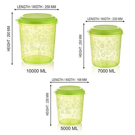 Asian Super Stylo Airtight Storage Big Containers Set of 3, (500+700+1000) Green