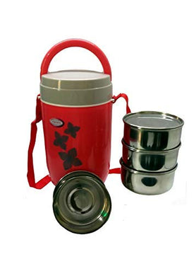 ASIAN Stainless Steel Smart 4 Tiffin Box/Lunch Box/Tiffin Carrier/Office Lunch Box (Red)