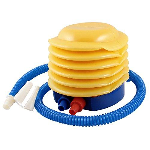 Blue Yellow Plastic Hand Foot Pump Inflator cum deflator for toys, inflatables, pillows, bed etc - halfrate.in