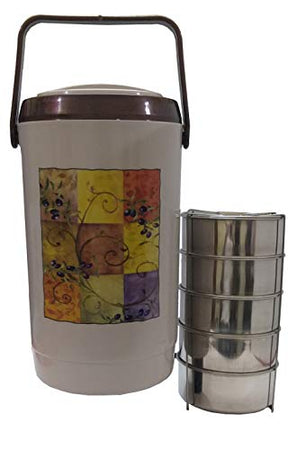 ASIAN Prestige 5 Stainless Steel Tiffin Carrier/Tiffin Box/Lunch Box/Lunch Set