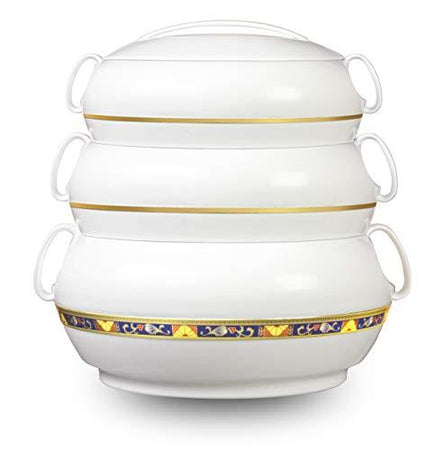 Asian Crown Plastic noble Casserole Set, 3-Pieces, white - halfrate.in