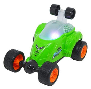 Stunt Car Vehicle 360° Rotating Rolling Electric Light & Sound Race Car Toys for Kids Gifts Boys (Green) - halfrate.in