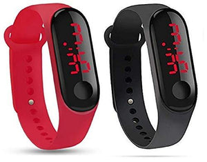 Red & Black Slim Digital Black Dial Led Bracelet Band Watch for Boys and Girls Combo Pack of 2 - halfrate.in