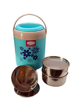 ASIAN Royal 3 Highly Insulated Thermo Tiffin Carrier/Lunch Box/Tiffin Set/Tiffin Box/Lunch Set (Blue)