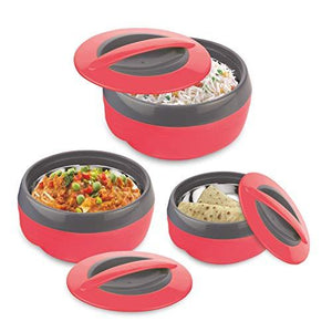 Asian Plastowares Plastic Cosmos Casserole set of 3, 600, 1000,1500 ml, Red - halfrate.in